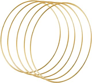 Sntieecr 5 Pack 14 Inch Large Metal Floral Hoop Wreath Macrame Gold Hoop Rings for DIY Wedding Wreath Decor, Dream Catcher and Macrame Wall Hanging Crafts