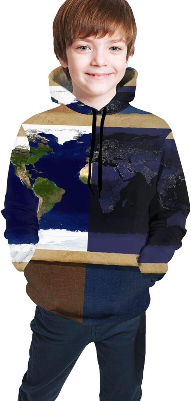LINCHENC Boys Girls Hoodie, Earth Graphics Unisex 3D Printing Teenager Sweatshirt Kids Children's Sweater for Age 7-20