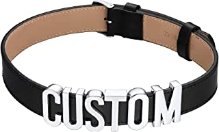 Women Girls Customized Choker Collar Necklace Personalized Charm/Thick Puddin/Cross/Evil Eye/Initials Name Leather Wristband Bracelet and Neck Costume Jewelry