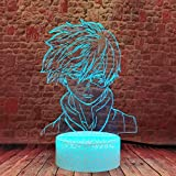 My Hero Academia Shoto Todoroki 3D Illusion Night Light MHA LED Anime Lamp 16 Colors RGB Remote Control Room Decor