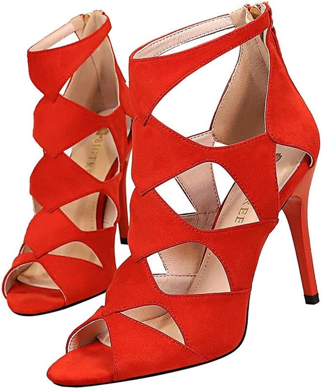 Women's Fashion Peep Toe Suede High Heels shoes Rivet Roman Gladiator Sandals Zipper With Heel (10 Cm)