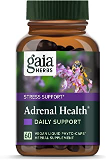 Gaia Herbs Adrenal Health Daily Support, Stress Relief and Adrenal Fatigue Supplement, Holy Basil, Ashwagandha, Rhodiola Adrenal Complex, Vegan Liquid Capsules, 60 Count