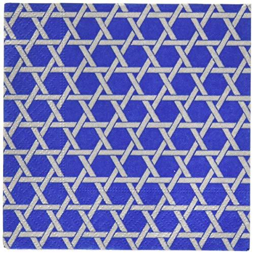 Caspari 14220C Star Lattice Paper Cocktail Napkins, Blue, Pack of 20