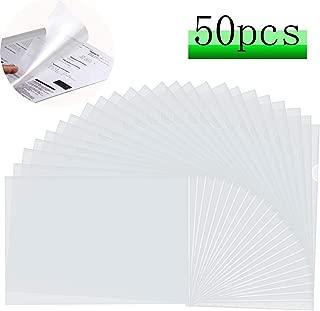 LRCXL 50 Pack Clear Document Folder L-Type Plastic Folder Copy Safe Project Pocket US Letter/ A4 Size in Transparent Color