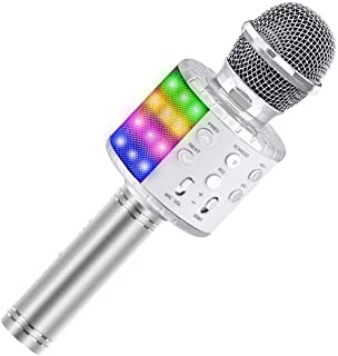 Karaoke Microphone, Birthday Gift Toy for Kids Adults Wireless Bluetooth Speaker with Controllable LED Lights and Recordin...