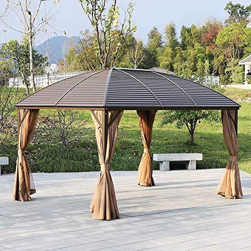 DZWJ 3 x 4 m Patio Aluminium Pavillon Hardtop Metalldach Baldachin Party Zelt Garten Outdoor Shelter mit Mesh Vorhänge