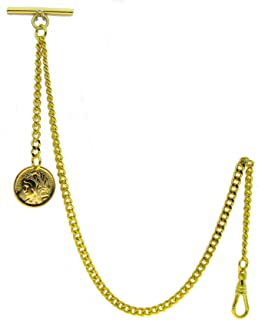 Gold Albert Chain Pocket Watch Curb Link Chain Fob T Bar + Swivel Clip + Ancient France Coin Design Medal Fob AC78