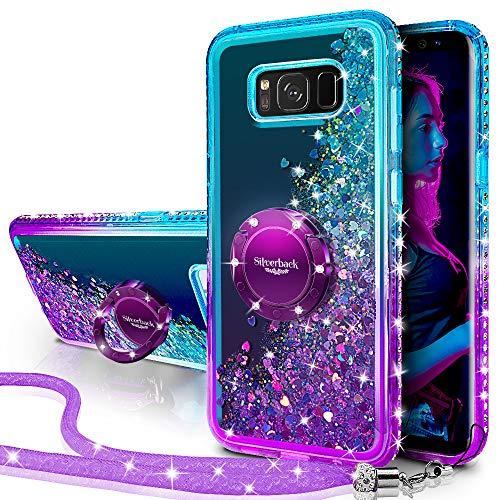 Miss Arts Galaxy S8 Active Hülle,[Silverback] Mädchen Glitzern Handyhülle hülle mit Ringständer, Cover TPU Bumper Silikon Flüssigkeit Treibsand Clear Schutzhülle für Samsung Galaxy S8 Active -LILA