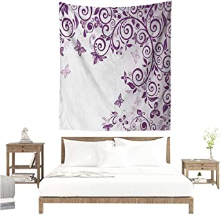 Mauve Living Room Tapestry Classic Twiggy French Styled Lilium Floral Branch Lovely Swirls Design Artwork Print Literary Small Fresh 54W x 72L INCH Violet