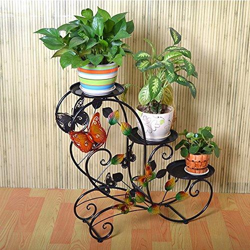 XIAOLIN- Pastoral Plancher de plancher Porte-fleurs Pots de plusieurs étages à l'intérieur et à l'extérieur Plateau de velours de radis vert (Couleur en option) --Cadre de finition de fleurs ( Couleur : Noir )