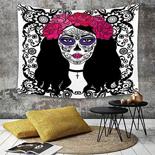 Tapestry,Hippie Tapiz,tapiz de pared con decoración para el hogar,Decoración de Sugar Skull, Chica con maquillaje de Sugar Skull Arte trad,para picnic Mantel o Toalla de Playa redonda 150 x 200 cm