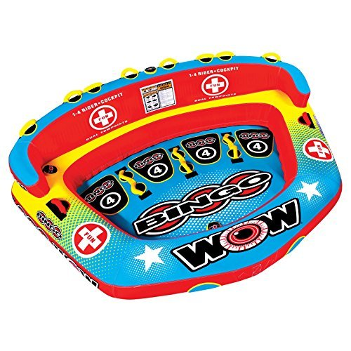 WOW World of Watersports Bingo Cockpit 1 2 3 or 4 Person Inflatable Towable Cockpit Tube for Boating, 14-1080