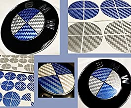 BLUE and SILVER Carbon Fiber Sticker Overlay Vinyl for All BMW Emblems Caps Logos Roundels …