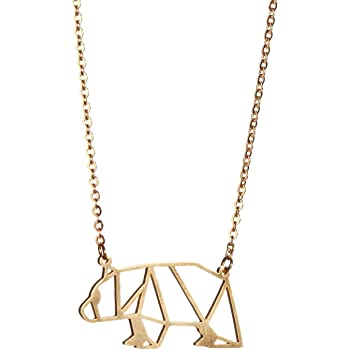 La Menagerie Bear Gold Origami Jewelry & Gold Geometric Necklace – 18 Karat Plated Gold Necklace & Bear Necklaces for Women – Bear Necklace for Girls & Origami Necklace