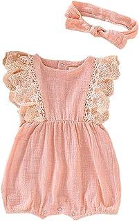 Shusuen Infant Newborn Baby Girl Romper Bodysuit Ruffle Bowknot One-Piece Jumpsuit Outfit Clothes Summer 0-18 Months
