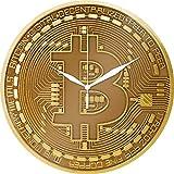 Trend Import Bitcoin - Reloj de pared de cristal, diseño de moneda de Bitcoin