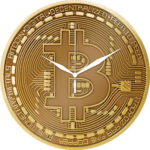 Trend Import Bitcoin Wanduhr aus Glas, goldfarben, Motiv: Physische Bitcoin-Münze