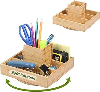 2 Pack Bamboo Rotating Desk Organizer - Darfoo Spinning Office Supply Organizer, Home School Art Supply Storage with 5 Com...
