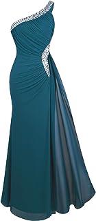 De las Mujeres Un Hombro Ruching Cuentas Cinta Escotado por detras Vestido Largo