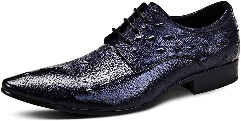 GanSouy Herren Schwarzes Leder Schnür-Oxfords Business Business Business Kleid Abendschuhe Smart Lässig Komfort Arbeit Büro Formale Spitze Blau Derby Braune Low-Top-Schuhe  1e27b3