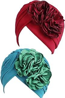 Muslim Solid Flowers Turban Headbands Cancer Chemo Hat Hair Loss Wrap Cap Hijib for Women (Wine&Blue,2 Pairs)