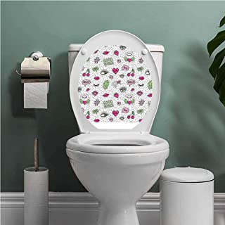 SCOCICI1588 Good Vibes Modern Toilet Sticker Design Eighties Nineties Style Pattern Eyes Lip Star Strawberry Cherry Pop Art Apartment Home Bathroom Decoration Pink Green Black W8XL11 INCH