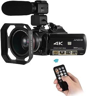 كاميرا الفيديو الرقمية، مسجل Andoer AC3 4K الترا اتش دي 24MP DV 30X زووم IR رؤية ليلية 3.0/ LCD مع ميكروفون خارجي واي فاي إضافي عدسة عريضة الزاوية 39X وغطاء عدسة