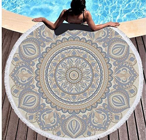 Vanzelu strandhanddoek, rond, met eiken, yogamat, sprei, absorberend, microvezel, stijl picknick, 150 x 150 cm, buiten