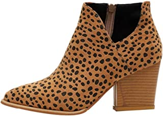 Gets Womens Ankle Boots Slip on Pointed Toe Chunky Heel Side Zipper Mid Heel Western Booties Snakeskin Booties (Leopard,7.5 M US)