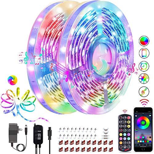 Striscia LED 20M, Bluetooth Controllata da App Musica LED Striscia 24V Striscia di Colore Variabile con Pulsante 24 IR Telecomando, per Adatto A Salotti, Camera, Bar, TV, Feste