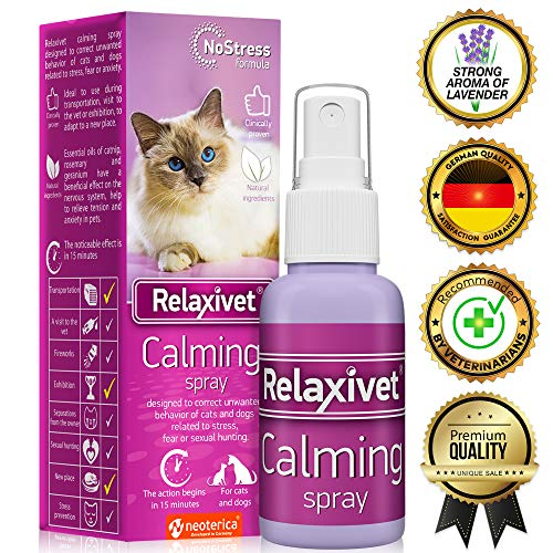 Relaxivet Pheromone Calming Spray for Cats and Dogs (50ml) with a Long-Lasting Calming Effect - #1 Spray for Stress Prevent and Relax - Anti-Anxiety Spray for Pets