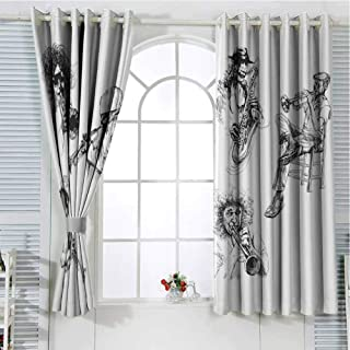 Grommet Window Curtain Country Curtain Jazz Music Decor,Sketch Image of Jazz Players Playing Instruments Trumpet and Saxophone Music Decor,Black White Doorway Curtain 63 x 72 inch