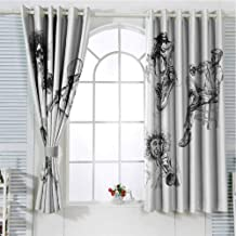 Grommet Window Curtain Window Curtain 2 Panel Jazz Music Decor,Sketch Image of Jazz Players Playing Instruments Trumpet and Saxophone Music Decor,Black White Curtain Living Room 63 x 45 inch