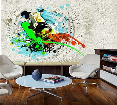 HONGYAUNZHANG Aquarell Skateboard Charakter Benutzerdefinierte Fototapete 3D Stereoskopische Wand Wohnzimmer Schlafzimmer Sofa Hintergrund Wand Wandbilder,200Cm (H) X 280Cm (W)