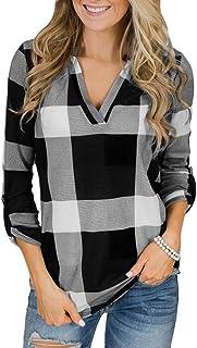 comprar comparacion ZODOF Mujer Camiseta Roll Up Manga Larga con Cuello en V botón de Tela Escocesa impresión Bolsillo Blusa Top Camisetas Man...