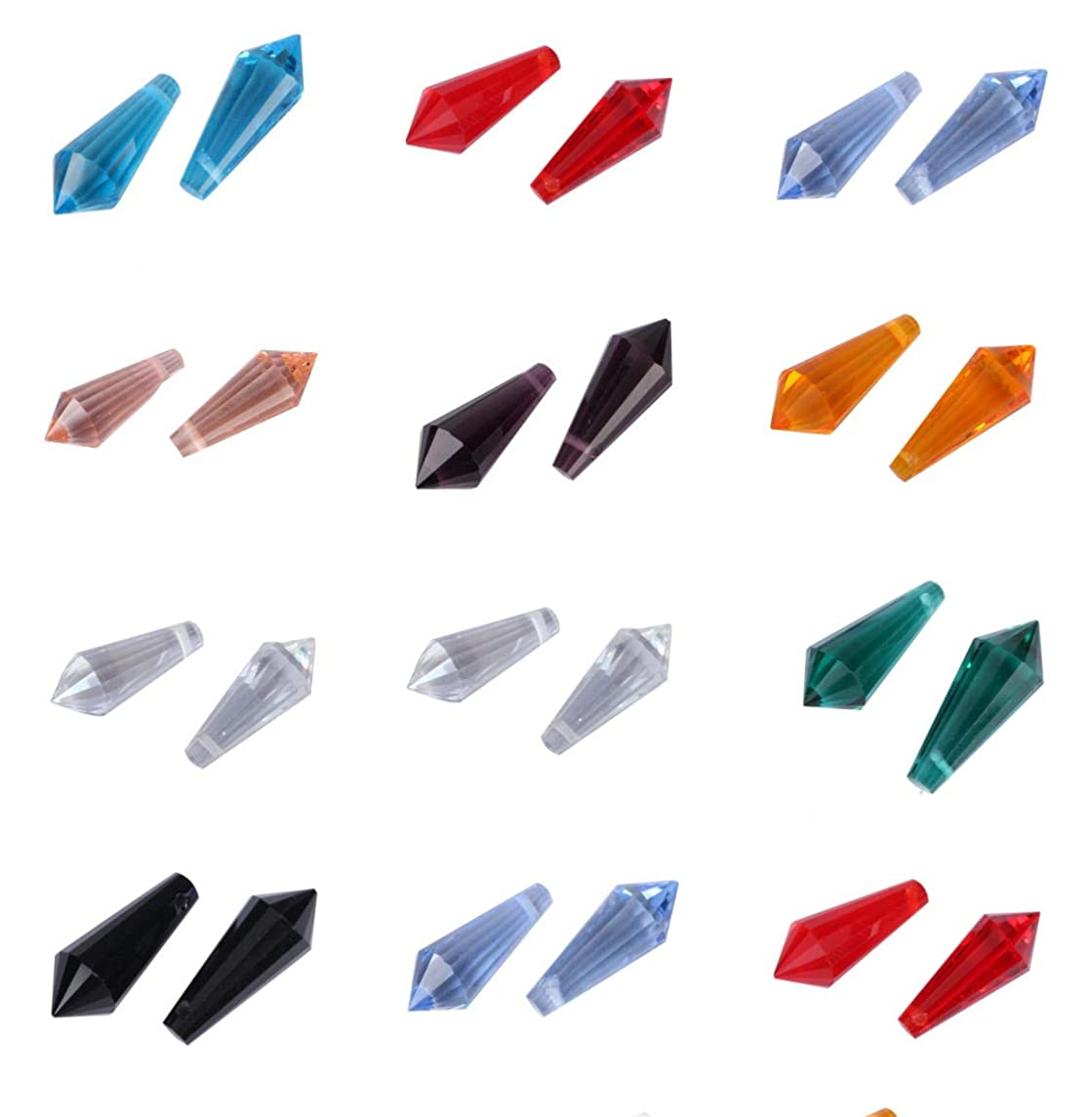 Mixed Lot Top Drilled Teardrop Beads 20mm Pendant Prism Beads (50pcs) for Earrings Bracelet Necklace Anklet Charm Keychain Jewelry Craft Making CCS16
