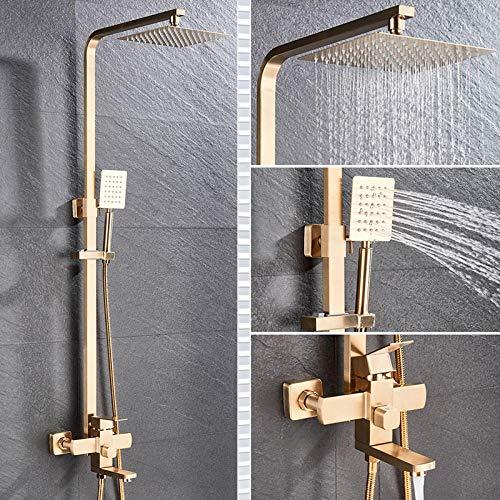 SUS304 Rubinetto doccia in acciaio inox Soffione doccia a pioggia a parete con doccetta Set miscelatore doccia con beccuccio per vasca-Oro spazzolato