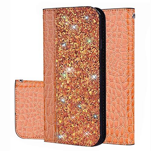 Ukayfe Compatibile con Nokia 8.1 Cover Custodia in Pelle Portafoglio a Libro con Bling Brillantini Glitter PU Leather Wallet Stand Flip Case-Arancione
