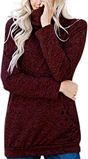 Womens Autumn Winter Warm Turtleneck Long Sleeves Solid Color Pullover Tops with Button Pockets Wrap Sweatshirt Blouse