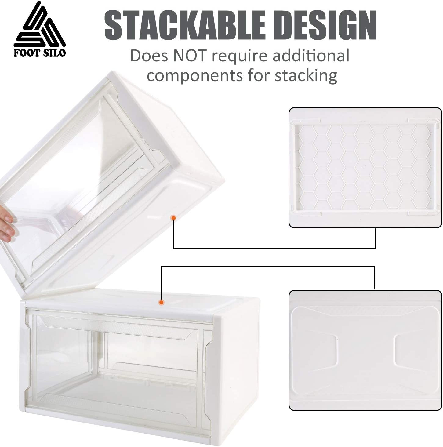 Drop Front Shoe Box Transparent Shoe Display Case for Sneaker Storage Shoe Boxes Clear Plastic Stackable Pack of 3 White