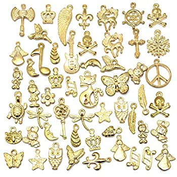 Wholesale Bulk 50PCS Mixed Charms Pendants DIY for Jewelry Making and Crafting Gold