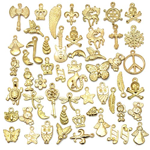 Wholesale Bulk 50PCS Mixed Charms Pendants DIY for Jewelry Making and Crafting, Gold