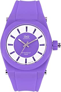 Q&Q Purple Dial Silicone Band Watch - Vr32J005Y, Analog Display, Japanese Quartz Movement, For Unisex
