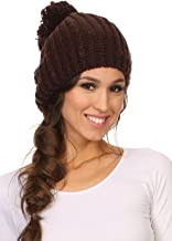 Sakkas Lax Wide Unisex Cable Knit Large Pom Pom Bobble Beanie Hat Cap