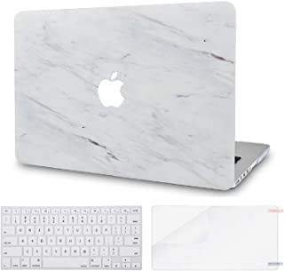LuvCase 3 in 1 Rubberized Hard Shell Case with Keyboard Cover and Screen Protector Compatible MacBook Air 13 Inch 2019/2018 New Version A1932 Retina (Touch ID) (Silk White Marble)