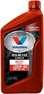 Valvoline - 822381-CS High Mileage with MaxLife Technology SAE 20W-50 Synthetic Blend Motor Oil 1 QT, Case of 6