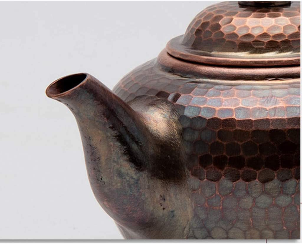 Bouilloire Théière en cuivre fait main Théière Théière bouilloire anti-brûlure pot en cuivre épais 0.45L (Color : Brass) Brass