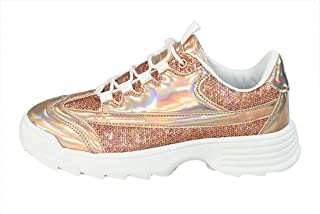LUCKY-STEP Women Fashion Sneakers Non-Slip Sequins Hologram Outdoor Running Shoes for Carnivals - Footwear Choice
