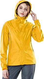 TSLA Women's Waterproof Rain Jackets, Lightweight Breathable Raincoat with Hood, Outdoor Hiking Windbreaker