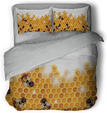 Miles Ralph Nature Summer Duvet Cover Sweet Honey Bees Wax Abstract Insect of Spring Season Artwork Image Oversized Down Duve